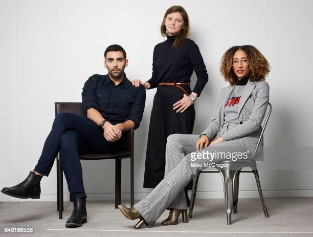 Teen Vogue digital director Phillip Picardi creative director Marie Suter and editor Elaine Welteroth are photographed for The Guardian Magazine on...