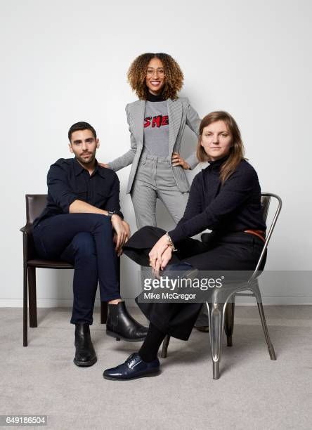 Teen Vogue digital director Phillip Picardi editor Elaine Welteroth and creative director Marie Suter are photographed for The Guardian Magazine on...