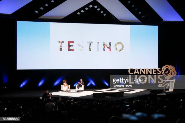 Teen Vogue Editor in Chief Elaine Welteroth and Photographer Mario Testino speak during the Cannes Lions Festival 2017 on June 20 2017 in Cannes...