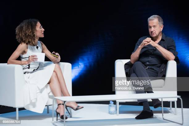 Teen Vogue Editor in Chief Elaine Welteroth and Photographer Mario Testino speak during the Cannes Lions Festival on June 20 2017 in Cannes France