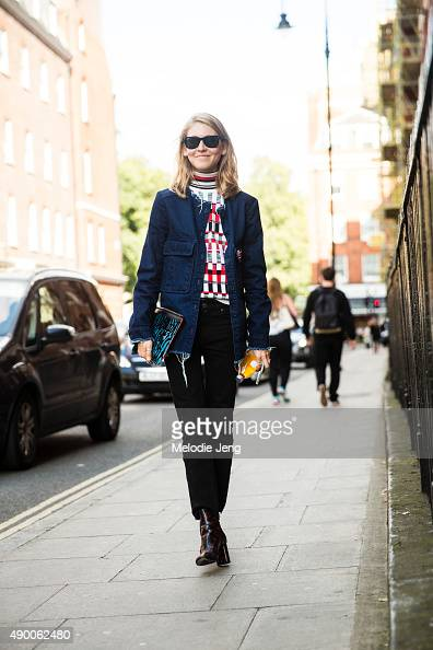 Teen Vogue editor Jessica Minkoff wears a personalized blue Zara jacket Jonathan Saunders turtleneck Acne jeans RayBan sunglasses Proenza Schouler...