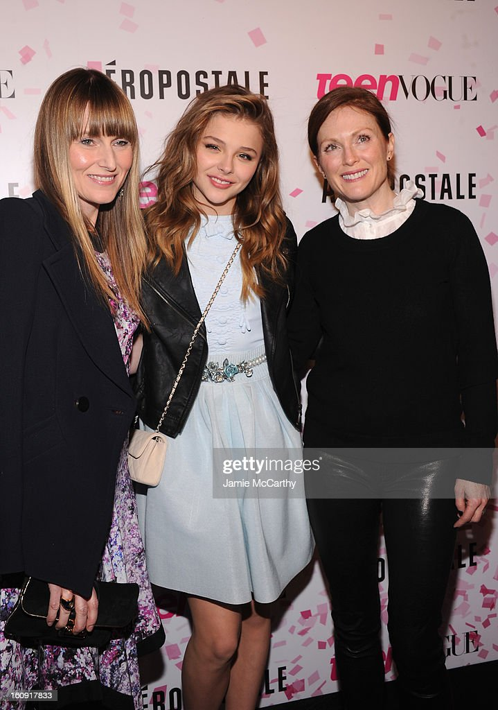 Teen Vogue Editor-in-Chief Amy Astley, actress Chloe Grace Moretz and actress Julianne Moore attend the 10th Anniversary of Teen Vogue and Aeropostale's Celebration of Chloe Grace Moretz's Sweet 16 at Aeropostale Times Square on February 7, 2013 in New York City.