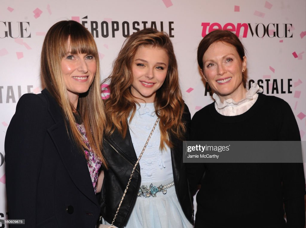 Teen Vogue Editor-in-Chief <a gi-track='captionPersonalityLinkClicked' href=/galleries/search?phrase=Amy+Astley&family=editorial&specificpeople=653167 ng-click='$event.stopPropagation()'>Amy Astley</a>, actress Chloe Grace Moretz and actress <a gi-track='captionPersonalityLinkClicked' href=/galleries/search?phrase=Julianne+Moore&family=editorial&specificpeople=171555 ng-click='$event.stopPropagation()'>Julianne Moore</a> attend the 10th Anniversary of Teen Vogue and Aeropostale's Celebration of Chloe Grace Moretz's Sweet 16 at Aeropostale Times Square on February 7, 2013 in New York City.