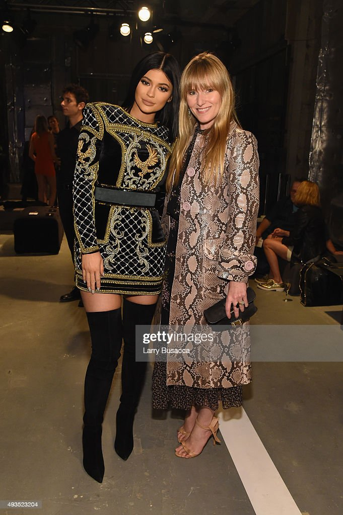 Teen Vogue editor-in-chief Amy Astley (R) and Kylie Jenner attend the BALMAIN X H&M Collection Launch at 23 Wall Street on October 20, 2015 in New York City.