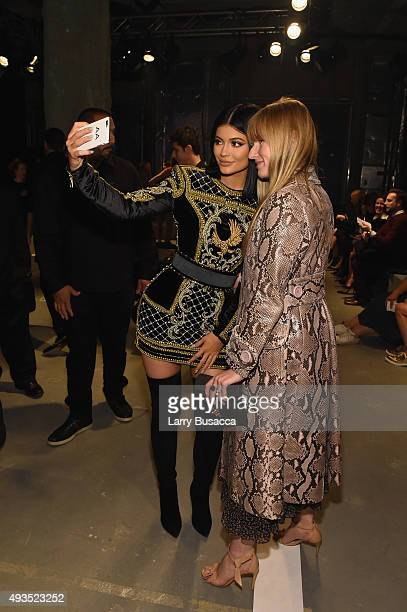 Teen Vogue editorinchief Amy Astley and Kylie Jenner attend the BALMAIN X HM Collection Launch at 23 Wall Street on October 20 2015 in New York City
