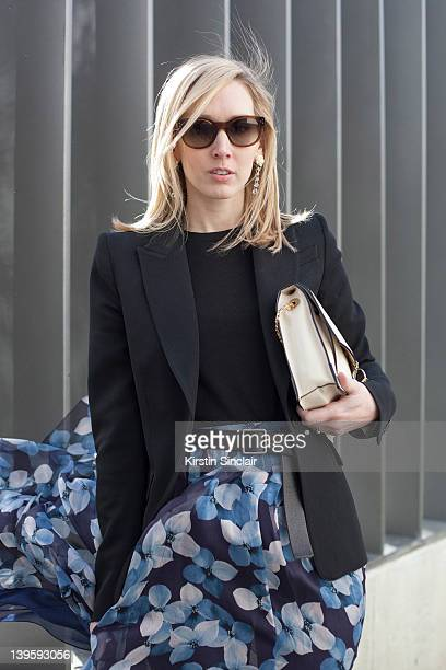 Teen Vogue USA Editor Jane Keltner De Valle skirt and bag Jason Wu Givenchy blazer Celine sunglasses street style at London fashion week...