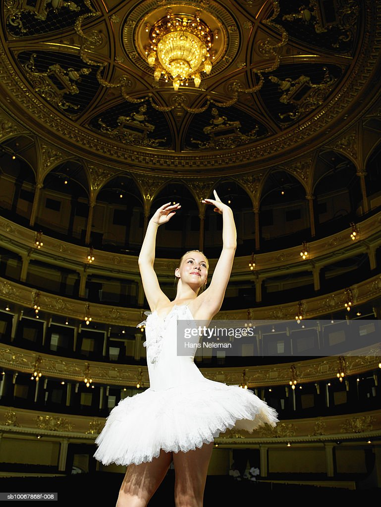 Teenage ballerina (13-14) on stage : Stock Photo
