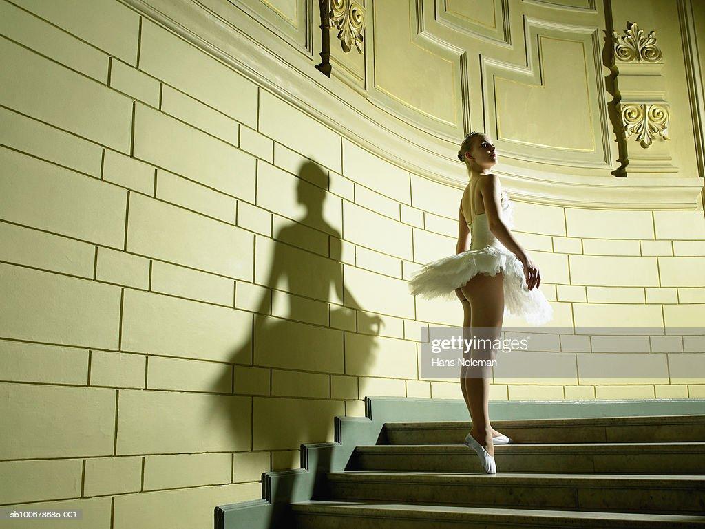 Teenage ballerina (13-14) on staircase : Stock Photo