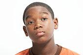 Teenage boy (13-15), close-up, portrait