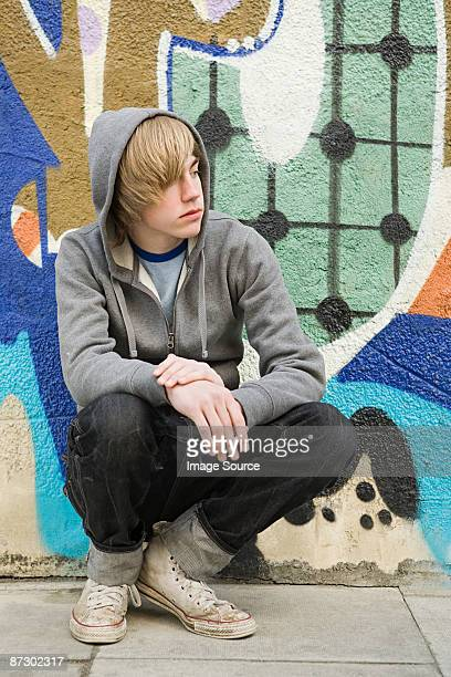 Teenage boy smoking