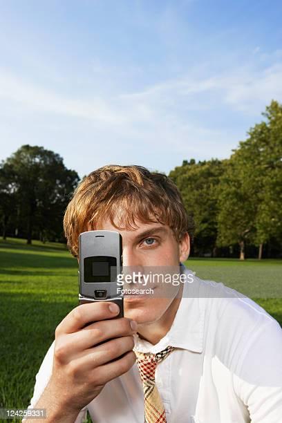 Teenage boy using mobile phone