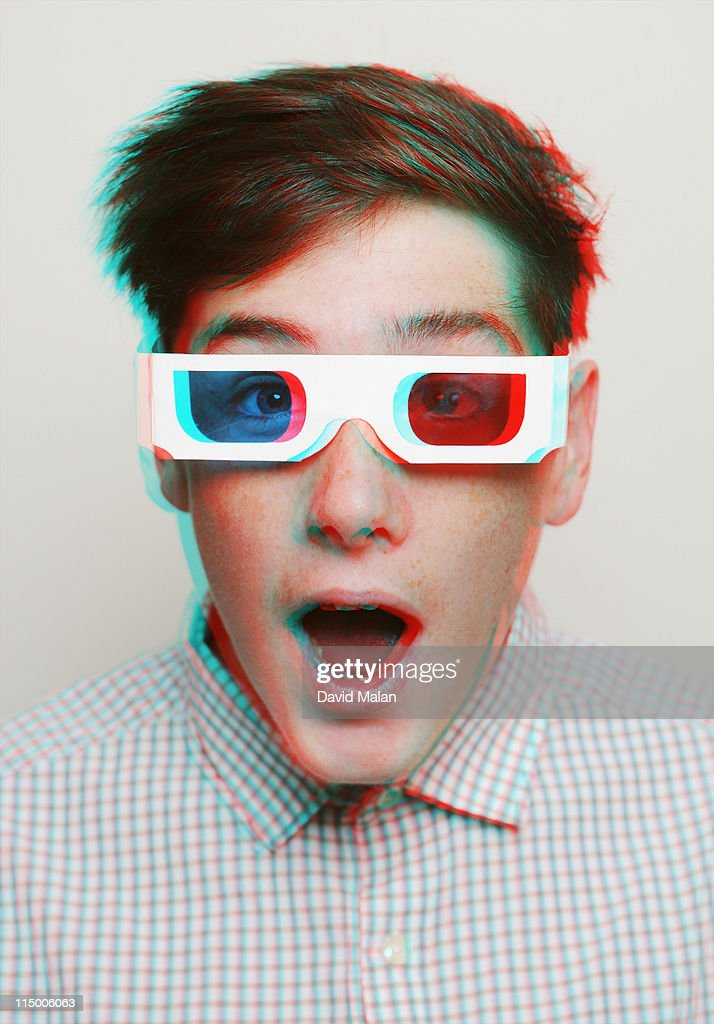 Teenage boy with 3D glasses on