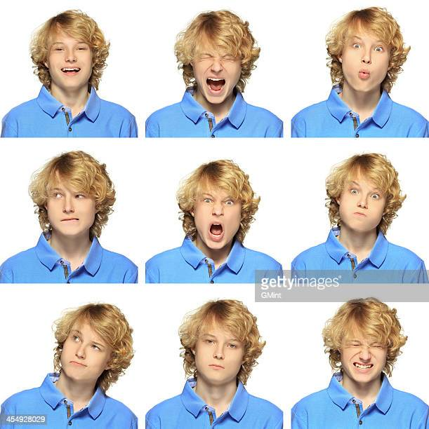 Teenage boy with curly blond hair expression collection on white
