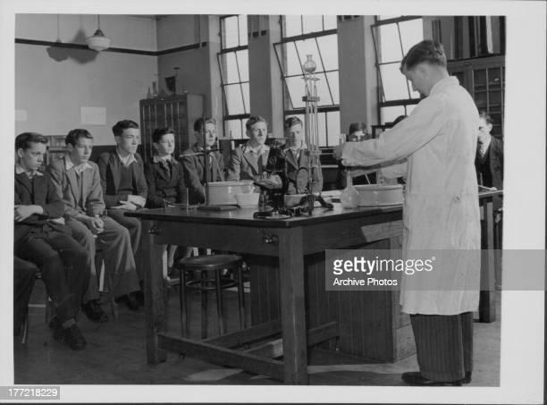 Teenage boys being taught science at Portadown Technical School Northern Ireland circa 19401960