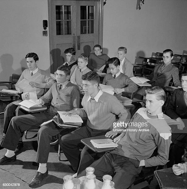 Teenage Boys in Classroom Woodrow Wilson High School Washington DC USA Esther Bubley for Office of War Information October 1943