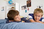 Teenage boys relaxing
