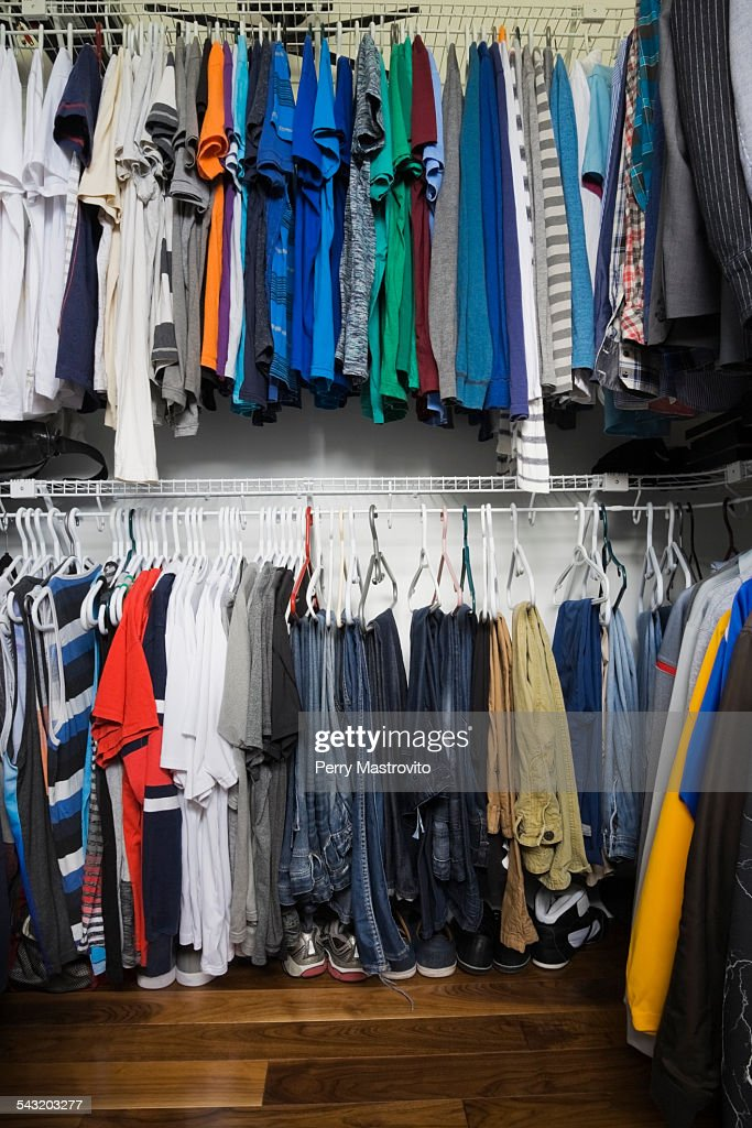 Teenage Boys Walk In Closet In Luxury Home : Stock Photo Part 30