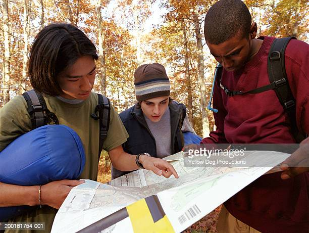 Teenage boys (15-17) with chaperone looking at map