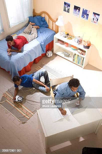 Teenage boys (16-17) working in bedroom