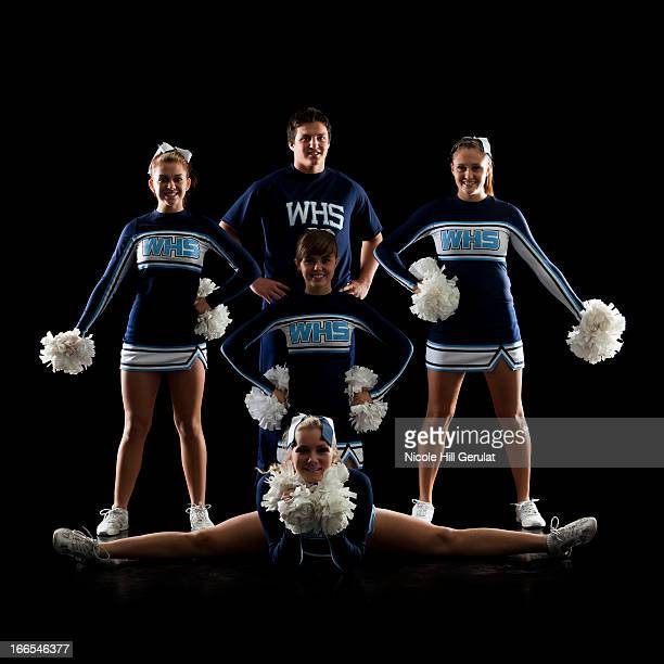 Teenage cheerleader (16-17) group and teenage sportsman (16-17)