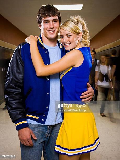 Teenage couple at school