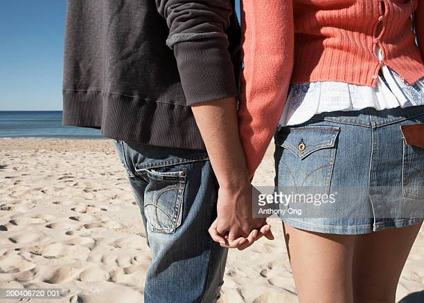 Teenage couple (16-18) standing on beach, mid section, rear view