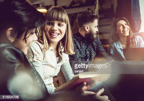 Teenage friends at the coffee bar