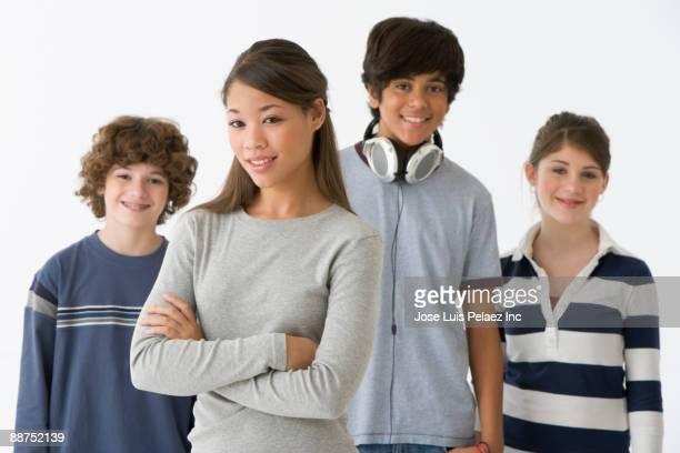 Teenage friends smiling
