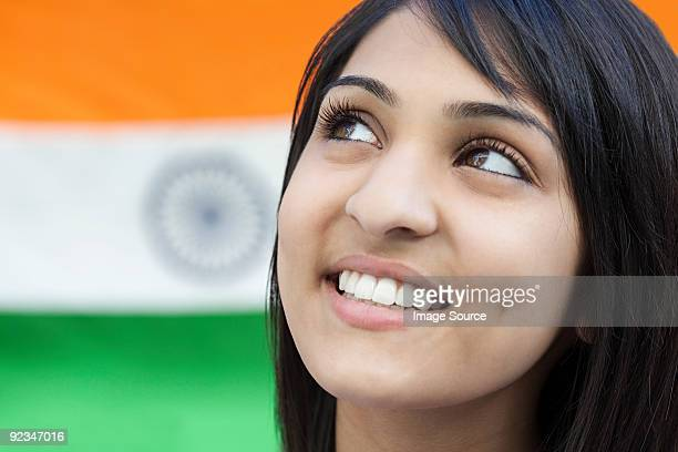 Teenage girl and indian flag