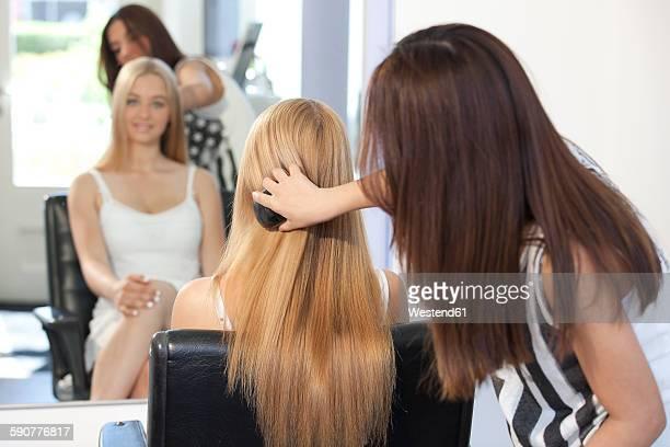 Teenage girl at hair salon