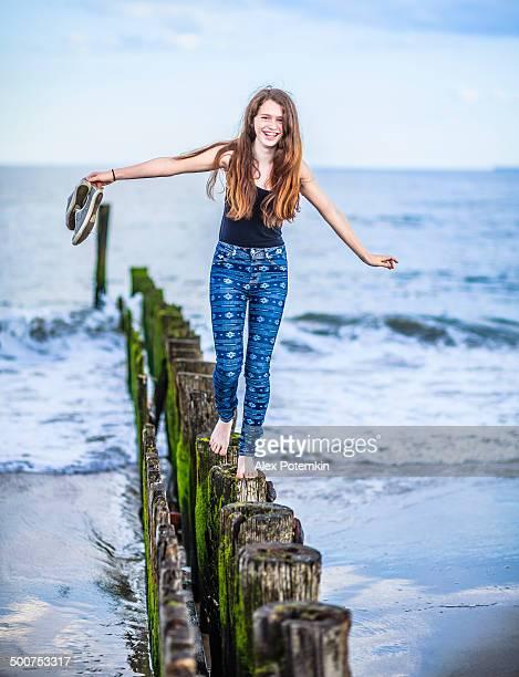 Teenage girl at the Rockaway beach