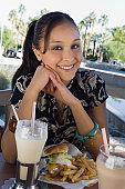 Teenage Girl Eating Lunch