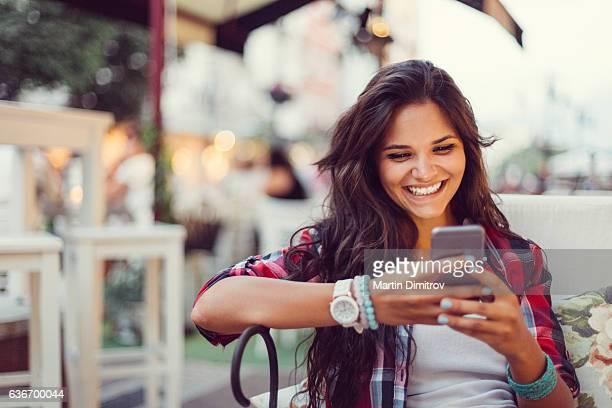 Teenage girl enjoying an online dating