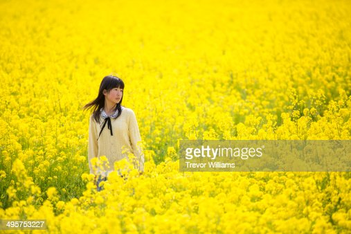 A teenage girl in a large field of flowers
