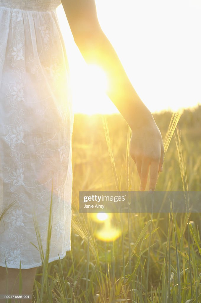 Teenage girl (16-18) in long grass, touching grass with hand, close-up : Stock Photo