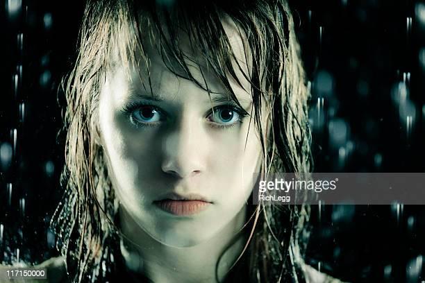Teenage Girl in the Rain
