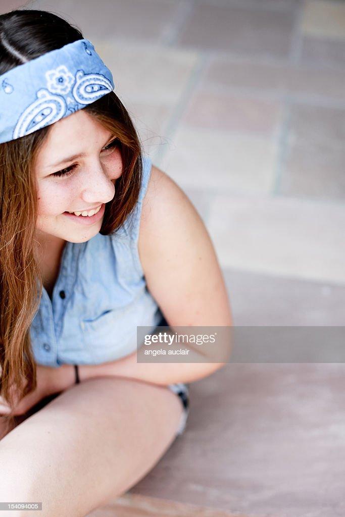 Teenage girl laughs : Stock Photo
