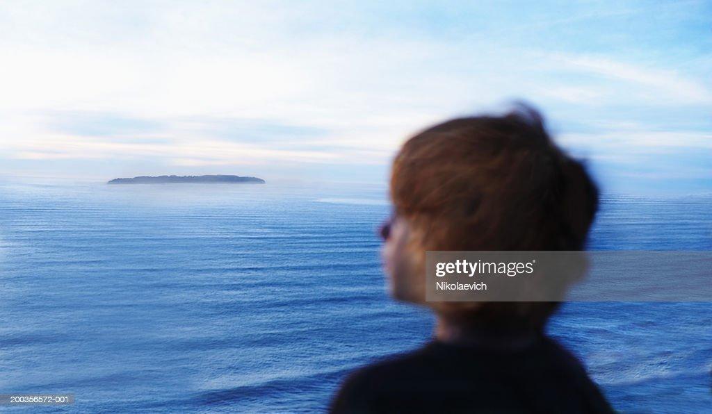 Teenage girl looking at Bay, San Francisco, California, USA : Stock Photo