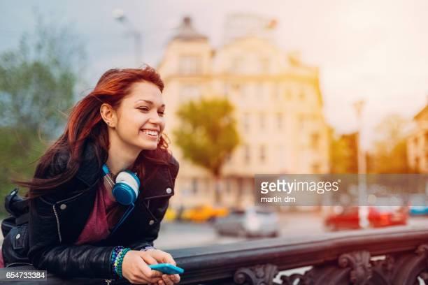 Teenage girl looking at view