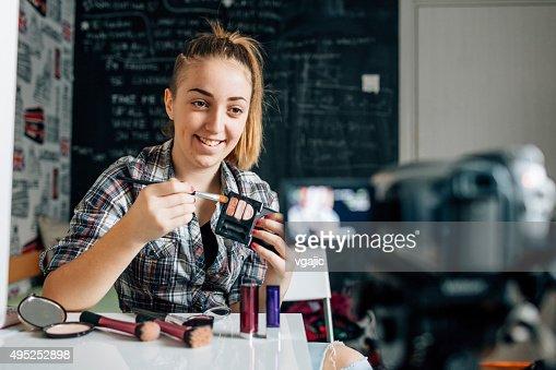 Teenage girl Making Her Video Blog.