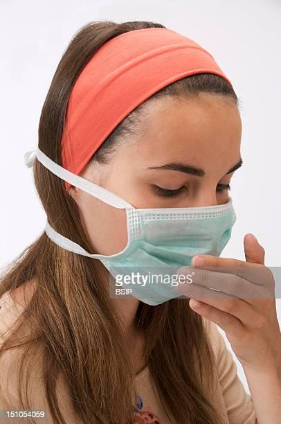 Teenage Girl Mask Of Prevention Against Swine Influenza H1N1