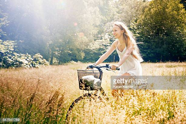 Teenage girl on cycle