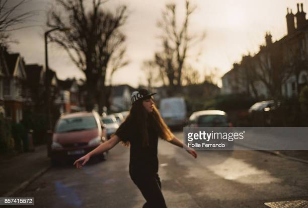 Teenage Girl on Suburban Street