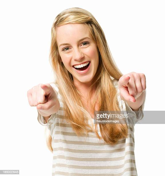 Teenage Girl Pointing - Isolated