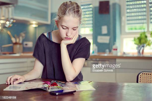 Teenage girl reading
