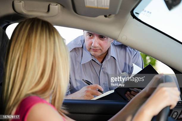 Teenage Girl Receiving a Ticket
