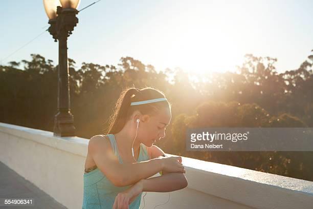 Teenage girl running and fitness.