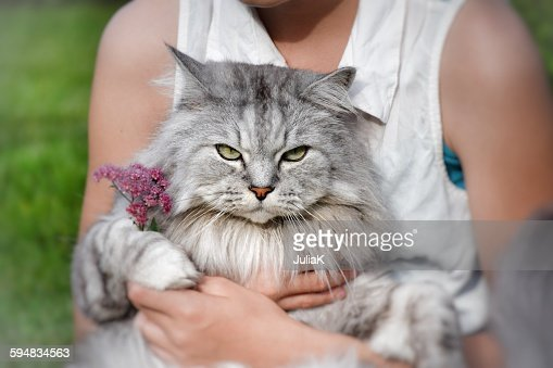 Teenage Girl sitting with a cat on her lap