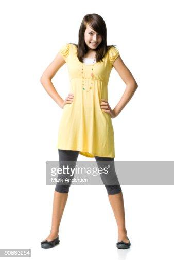 Teenage girl smiling and posing