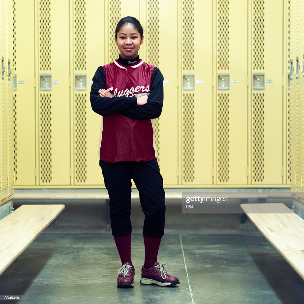 Group of teenage girls (15-17) standing in locker room